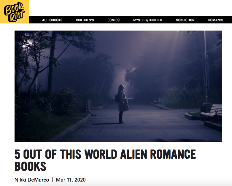 Book Riot recommends Alien Mate Experiment in 5 Out of This Wold Alien Romance Books list.